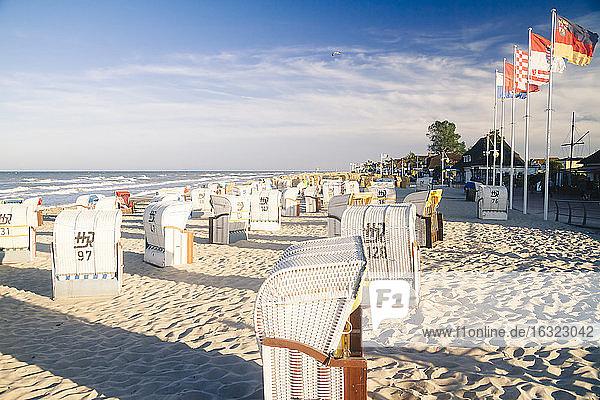 Germany  Baltic Sea  Dahme  beach chairs on beach