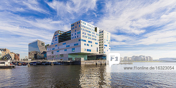 Netherlands  Amsterdam  view to Westerdok  IJDock and palace of justice in the background