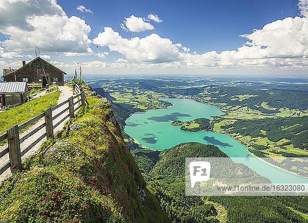 Austria  Salzkammergut  View from Mountain Schafberg to Lake Mondsee