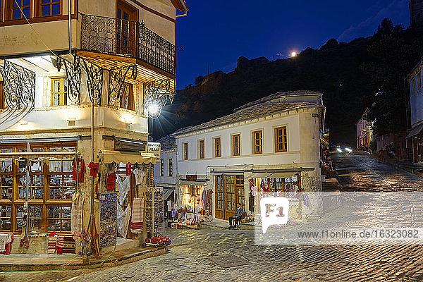 Albania  Gjirokaster  Qafa e Pazarit at night