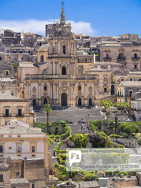 Italy  Sicily  Province of Ragusa  View to Modica  Church San Giorgio