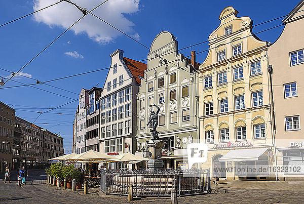 Germany  Bavaria  Augsburg  Mercury Fountain  Maximilianstrasse