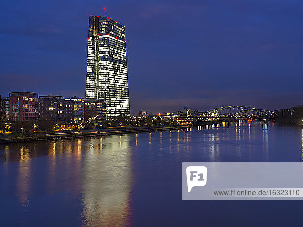 Germany  Frankfurt  River Main with ECB Tower and new campus