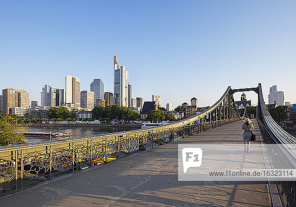 Germany  Hesse  Frankfurt  Financial district  Eiserner Steg bridge  Main river in the morning