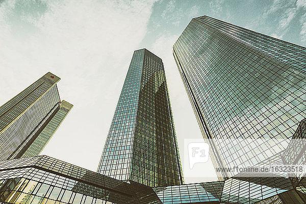 Germany  Frankfurt  modern office towers seen from below