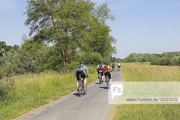 Austria  Burgenland  Heiligenkreuz im Lafnitztal  cyclists on road