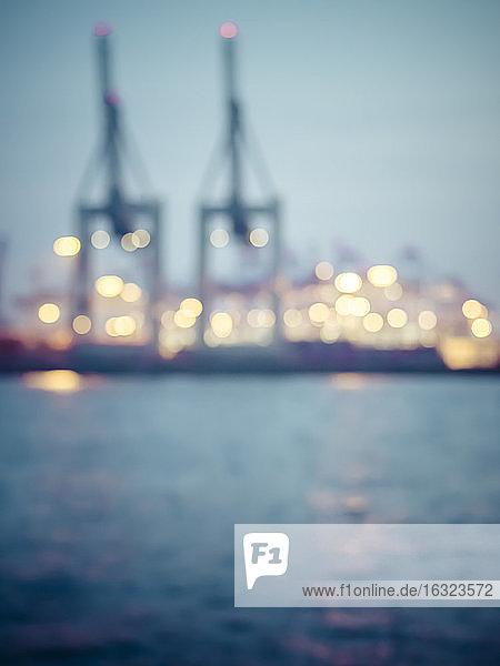 Germany Hamburg  Port of Hamburg  Container Terminal  blurred