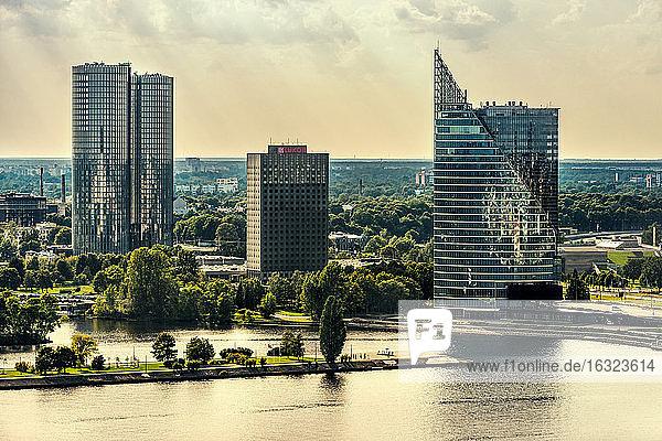 Latvia  Riga  view above Daugava River to Z-Towers and Saules Akmens skyscrapers