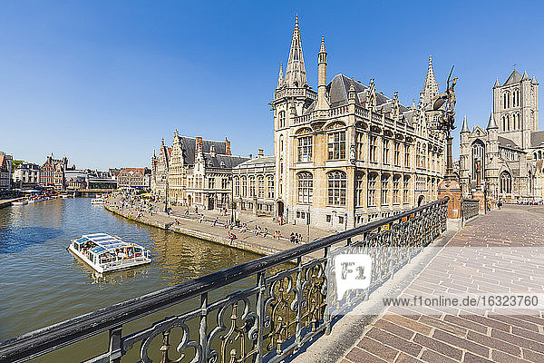 Belgium  Ghent  old town  historical houses at River Leie