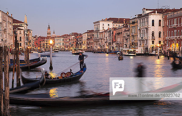 Italy  Veneto  Venice  Canal Grande  gondolas in the evening