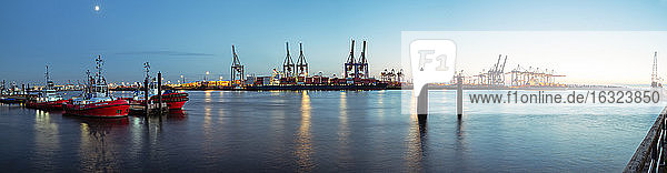 Germany  Hamburg  Harbour  Elbe river  Blue hour  Panorama
