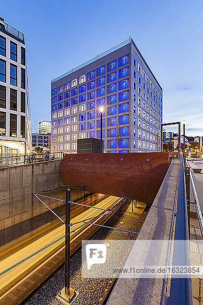 Germany  Stuttgart  Public Library at Mailander Platz at blue hour