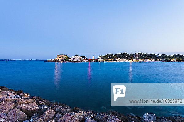 France  Provence-Alpes-Cote d'Azur  Department Var  near Bandol  Ile de Bendor  Privat island of Paul Ricard in the evening
