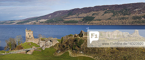 Great Britain  Scotland  Loch Ness  Drumnadrochit  Urquhart Castle in a panoramic view
