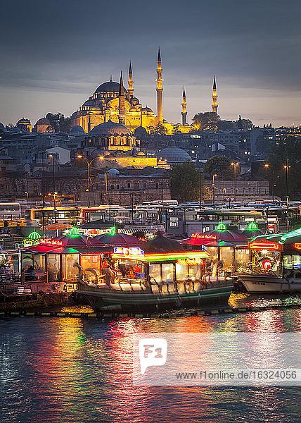 Turkey  Istanbul  view to Eminonu Harbor and Rustem Pasha Mosque and Suleymaniye Mosque