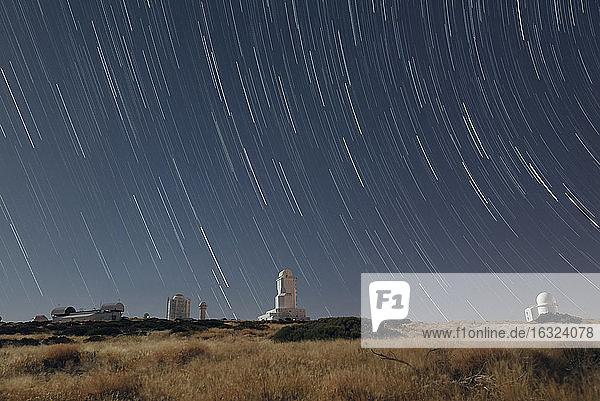 Spain  Tenerife  star trails over Teide observatory