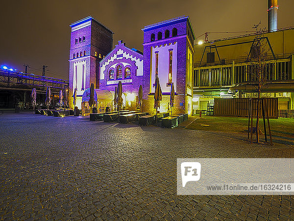 Germany  Hesse  Frankfurt  former waterworks  Restaurant in the evening