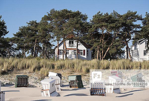 Germany  Usedom  Bansin  hooded beach chair on the beach