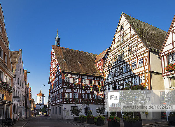 Germany  Oettingen  view to King's gate and town hall at Schlossstrasse
