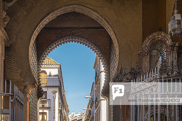 A historic moorish gate close to the Cathedral of Seville  Seville  Spain