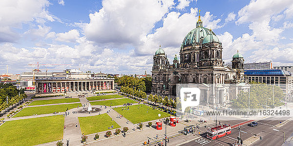 Germany  Berlin  view to Altes Museum  Lustgarten and Berlin Cathedral from above