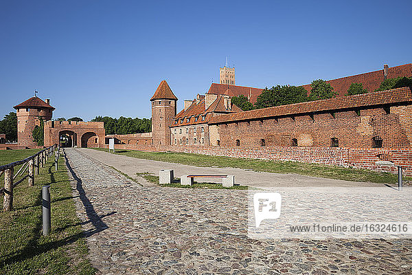 Poland  Malbork Castle  road and alley along the walls