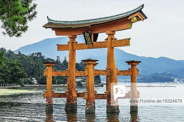 Japan,  Miyajima,  view to Itsukushima Shrine at Seto Inland Sea