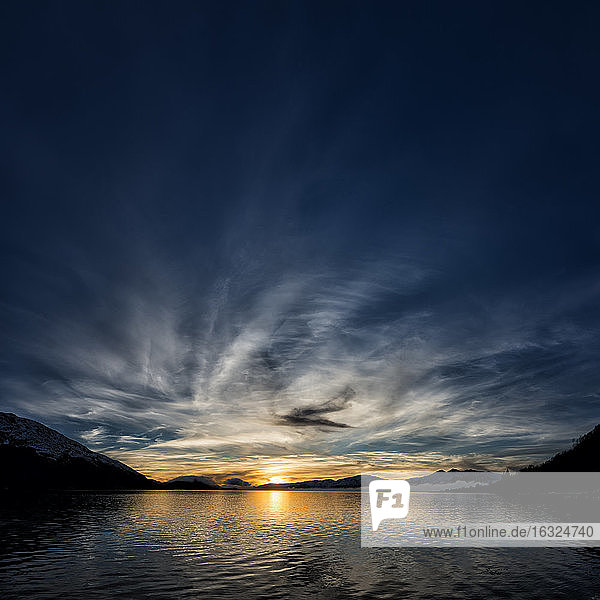 United Kingdom  Scotland  Loch Linnhe at sunset