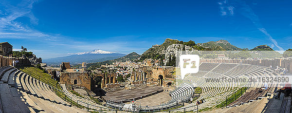 Italy  Sicily  Taormina  Teatro Greco with Mount Etna in the background