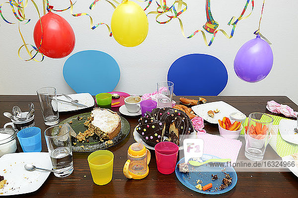Table with leftovers of children's birthday party