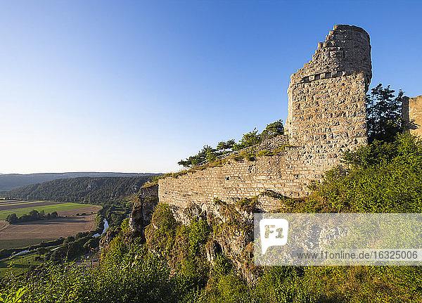 Germany  Bavaria  Altmuehl Valley  castle ruin Arnsberg and Altmuehl