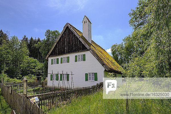 Germany  Bavaria  Gessertshausen  Glaserschuster house  thatched roof  Museum of Popular Art