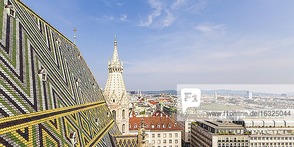 Austria  Vienna  cityscape with colored roof tiles and Stephansdom