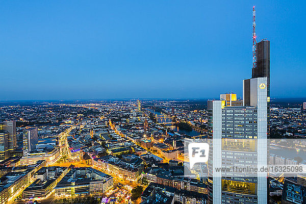 Germany  Frankfurt  view to the lighted city from above