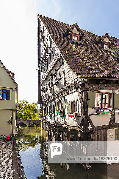 Germany  Ulm  tilted half-timbered house at River Blau