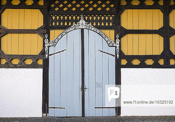 Germany  Upper Bavaria  Monatery estate Harpfetsham  Barn with Bundwerk carpentry