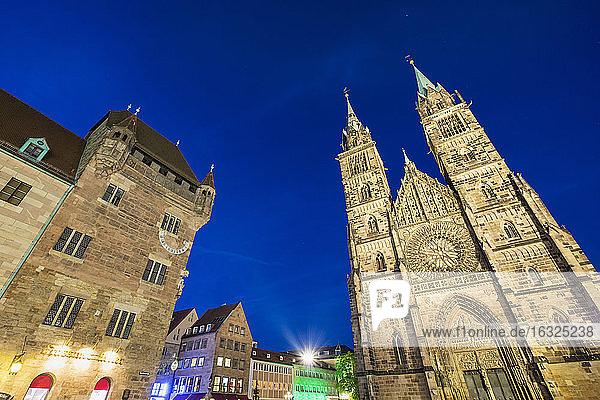 Germany  Nuremberg  view to Nassauer Haus and St. Lorenz Church