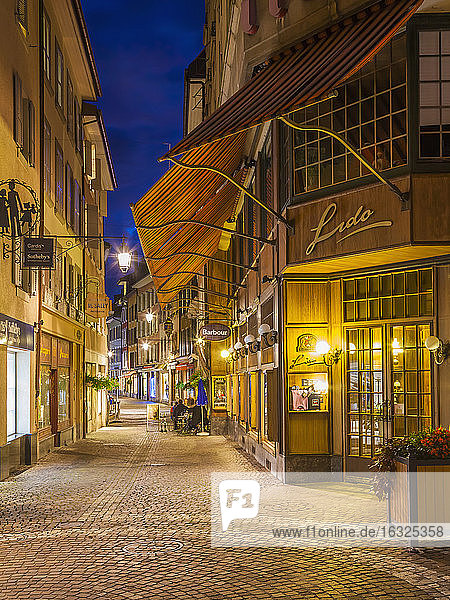 Switzerland  Vevey  Rue du Lac  restaurants and shops at night