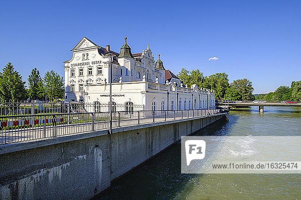 Ussar Villa with river Isar  Landshut  Lower Bavaria  Germany