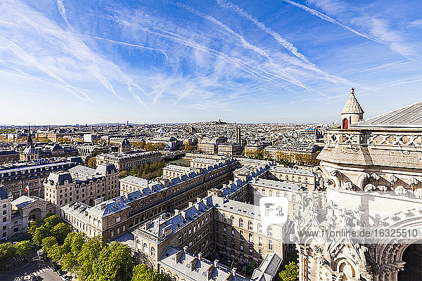 France  Paris  View over the city from Notre Dame cathedral