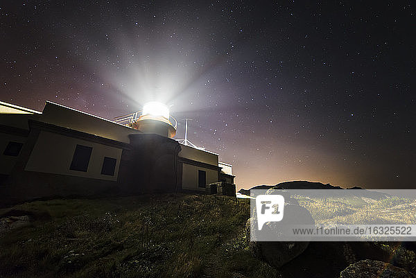 Spain  Galicia  Ferrol  Cape Prior  lighthouse at night