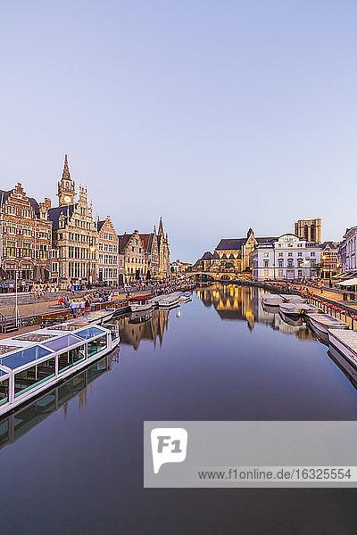 Belgium  East Flanders  Ghent  Graslei and Korenlei  harbour  Leie river in the evening