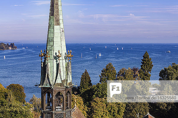 Germany  view to Lake Constance with spire of Constance Minster in the foreground