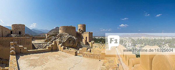 Oman  Al Batinah Region  Al Hajar Mountains  Nakhal  Fort Nakhal  oasis Nakhal and Jebel Nakhl massif