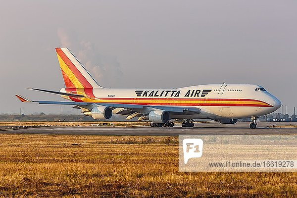 A Boeing 747-400BCF aircraft of Kalitta Air with registration number N745CK at Leipzig Halle Airport (LEJ)  Leipzig  Germany  Europe
