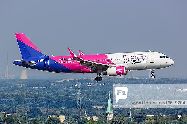 An Airbus A320 aircraft of Wizzair with the registration HA-LWU at Dortmund Airport (DTM)  Dortmund  Germany  Europe