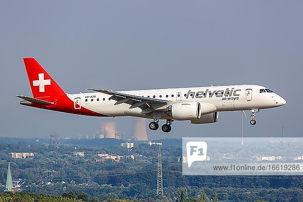 An Embraer 190 E2 aircraft of Helvetic Airways with registration number HB-AZD at Dortmund Airport (DTM)  Dortmund  Germany  Europe