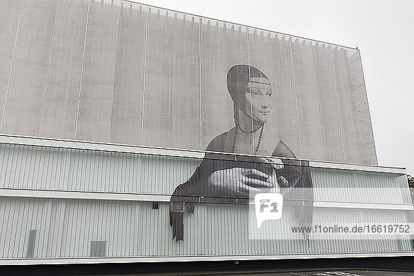 Facade of transparent fabric  printed with Da Vinci's Lady with Ermine  Weimar Atrium shopping centre  Weimar  Thuringia  Germany  Europe