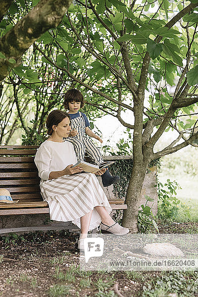 Beautiful woman and boy reading book while sitting on bench at backyard