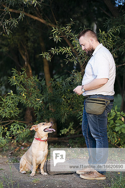 Mittlerer erwachsener Mann mit Hund im öffentlichen Park stehend